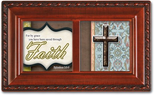 Cottage Garden Faith Inspirational Woodgrain Petite Music Box Plays On Eagle's Wings by Cottage Garden