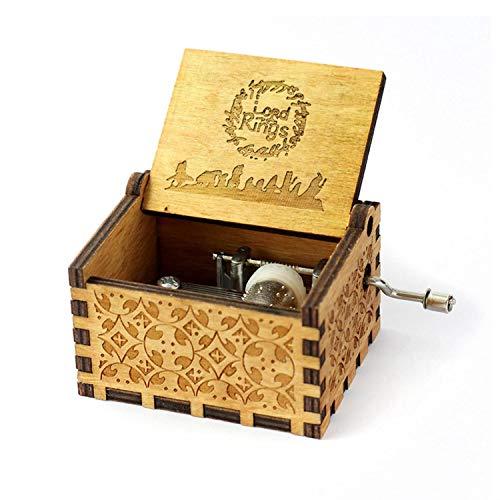 HOSALA Caja de música Personalizable con el Señor de los Anillos, Hecha a Mano, Madera grabada, Wood Music Box, 200