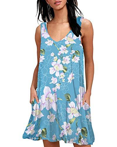 Women Casual T-Shirt Summer Dresses Floral Bohemian Dress Swing Boho Sundress Sleeveless with Pockets(Light Blue V,M)