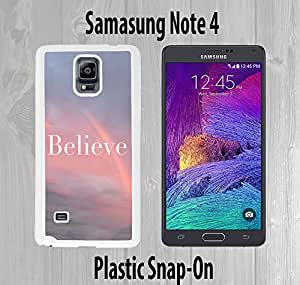 Believe Beautiful Sunset Rainbow Custom made Case/Cover/skin FOR Samsung Galaxy Note 4 -White- Plastic Snap On Case ( Ship From CA)