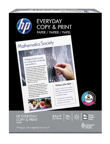 HP Printer Paper, Copy and Print20, 8.5 x 11, Letter, 20lb, 92 Bright, 400 Sheets / 1 Ream (200010R) Made In The USA