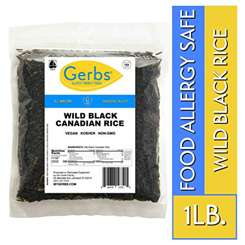 - Wild Rice by Gerbs - 1 LB - Top 14 Food Allergy Free & NON GMO - Vegan & Keto Safe - Premium Black Whole Grain, Product of Canada