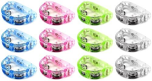 Cool Set of 12 Flashing Light Tambourine Children's Kid's Novelty Toy Noise Maker W/ 3 Light Patterns, Perfect for Party Favors, Goodie Bags (Colors May Vary) Fun with Lights -
