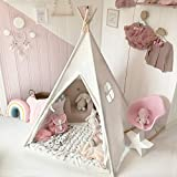 Kids Teepee Children Play Tent with Mat & Carry Case for Indoor Outdoor, Raw White Canvas, By Tiny Land