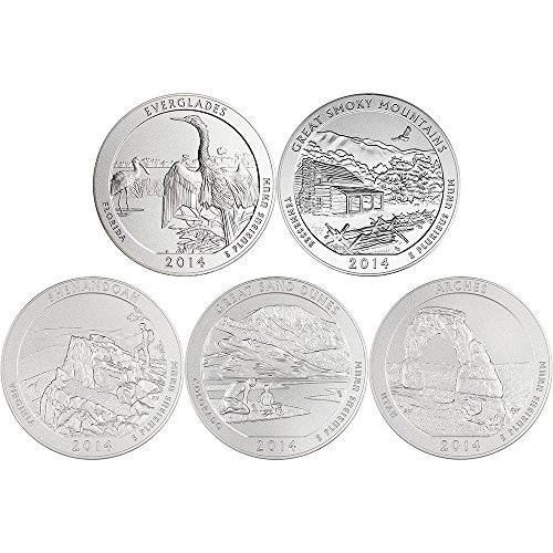 2014 P America the Beautiful Silver (5 oz) 5-Coin Set OGP