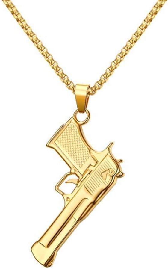 LAYX Pistola de Acero Inoxidable para Hombres Que Labra el Adorno de Cuello Pendiente, Acero Crear un Tratamiento de galjanoplastia Personalidad Cadena de inmersión de la joyería Regal