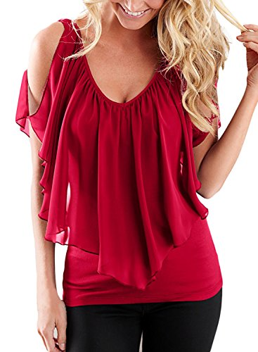AlvaQ Womens Summer Sexy Chiffon Cold Shoulder V Neck Club Tunic Top Blouses Large (Sexy Top Blouse Shirt)