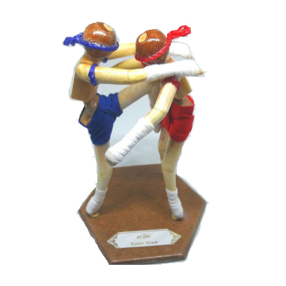 Muay Thai Wood Home Decoration Muay Thai Martial Art Doll Gift souvenirs reception room by Dconfident