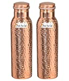 Set of 2 - Pure Copper Yoga Water Bottle or Thermos Flask with 99.5% Purity- Handmade, Joint Free for Ayurvedic Health Benefits, Sports, Gym, Yoga & Travel by Prisha India Craft