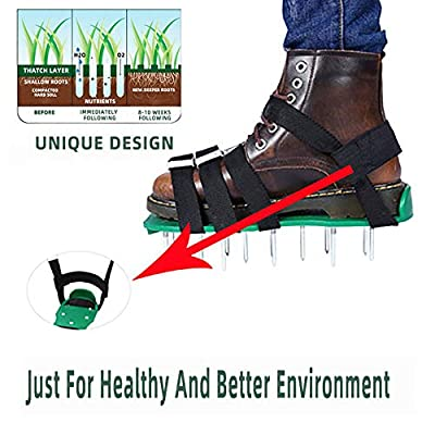 Lawn Aerator Shoes - for Effectively Aerating Lawn Soil - 3 Adjustable Straps and Heavy Duty Metal Buckles - One Size Fits All Turf Plug Core Aeration Tool