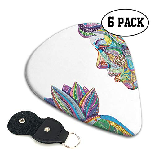 (Spiritual Yoga Woman with Lotus Flower 351 Shape Classic Celluloid Guitar Picks for Guitar Bass - 6 Pack .71mm .46mm)