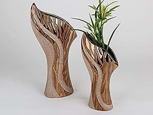 Exclusivo Jarrón Decorativo (–Jarrón de cerámica Antiguo de oro Altura 40cm