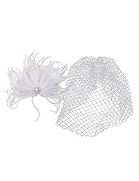 MonkeyJack Vintage Women's White Birdcage Veil with Feather Fascinator Wedding/Tea Party/Church