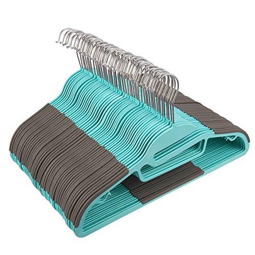 50-Pack Flocked Hangers - Non-Slip Plastic Hangers, Thin Hangers, Non Slip Hangers, Teal - 16 x 9 Inches