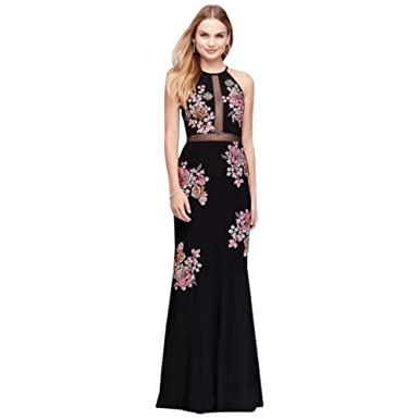Davids Bridal Floral Embroidered Jersey Halter Prom Dress Style XS9596, Black, 4 at Amazon Womens Clothing store: