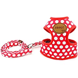SMALLLEE_LUCKY_STORE Soft Mesh Nylon Vest Pet Harness, Red, Large