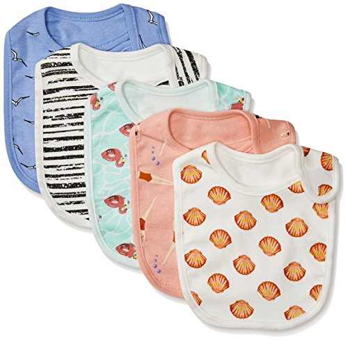 Rosie Pope Girls Baby 5 Pack Bibs, Flamingo/Swimmers/Stripes/Seashells, One Size