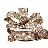 Natural Burlap Ribbon 7/8'' x 10 Yards, Birthday, Wedding Decor