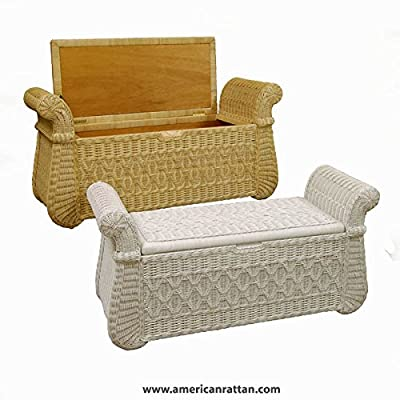 White Indoor Wicker Storage Bench with Wood Frame - Bed Bench, Entry, Shoe, or Hope Chest