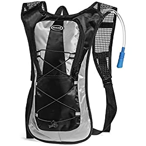 Hydration Pack - Ultra Lightweight! - Minimalist Backpack and 2L Water Bladder/Bottle. Perfect for Camping, Hiking, Running, Cycling, Fishing, Hunting, Fun/Mud Run 1 Yr Hassle-Free Warranty. (Black)