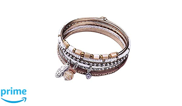 xinge 6 Pieces Retro Copper Bangle Bracelets for Women Girls with Stones Beads Charms Pendants Set BST002