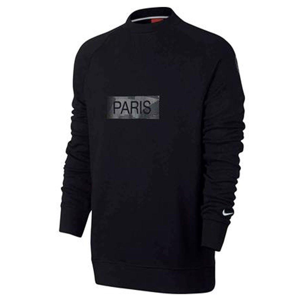 2017-2018 PSG Nike Crew Neck Sweat Top (Black) B07459DGW5Black Small 34-36\