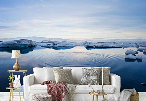 Photo wallpaper wall mural - Ice Floating Arctic Nature - Theme Travel & Maps - L - 8ft 4in x 6ft (WxH) - 2 Pieces - Printed on 130gsm Non-Woven Paper - FW-1114V4 by Fotowalls Photo Wallpaper Murals