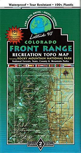 Colorado Front Range Recreation Topo Map Including Rocky Mountain National Park, National Forests, State, County, & Mountain Parks (Front Range Map)
