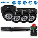 KKmoon 4CH Full AHD 1080N/720P 800TVL CCTV DVR Security Kit HDMI P2P Cloud Onvif Network Video Recorder + 1TB HDD + 4x Indoor Dome Camera + 60ft Data Cable, IR-CUT Infrared Night Vision, Plug and Play