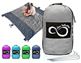 Sand Free Compact Outdoor Beach / Picnic Blanket- Huge-9' x 10' For 7 Adults- Best Mat For Festivals & Hiking-Very Soft & Quick Drying Ripstop Nylon- 5 Weightable Pockets (Silver Middle)