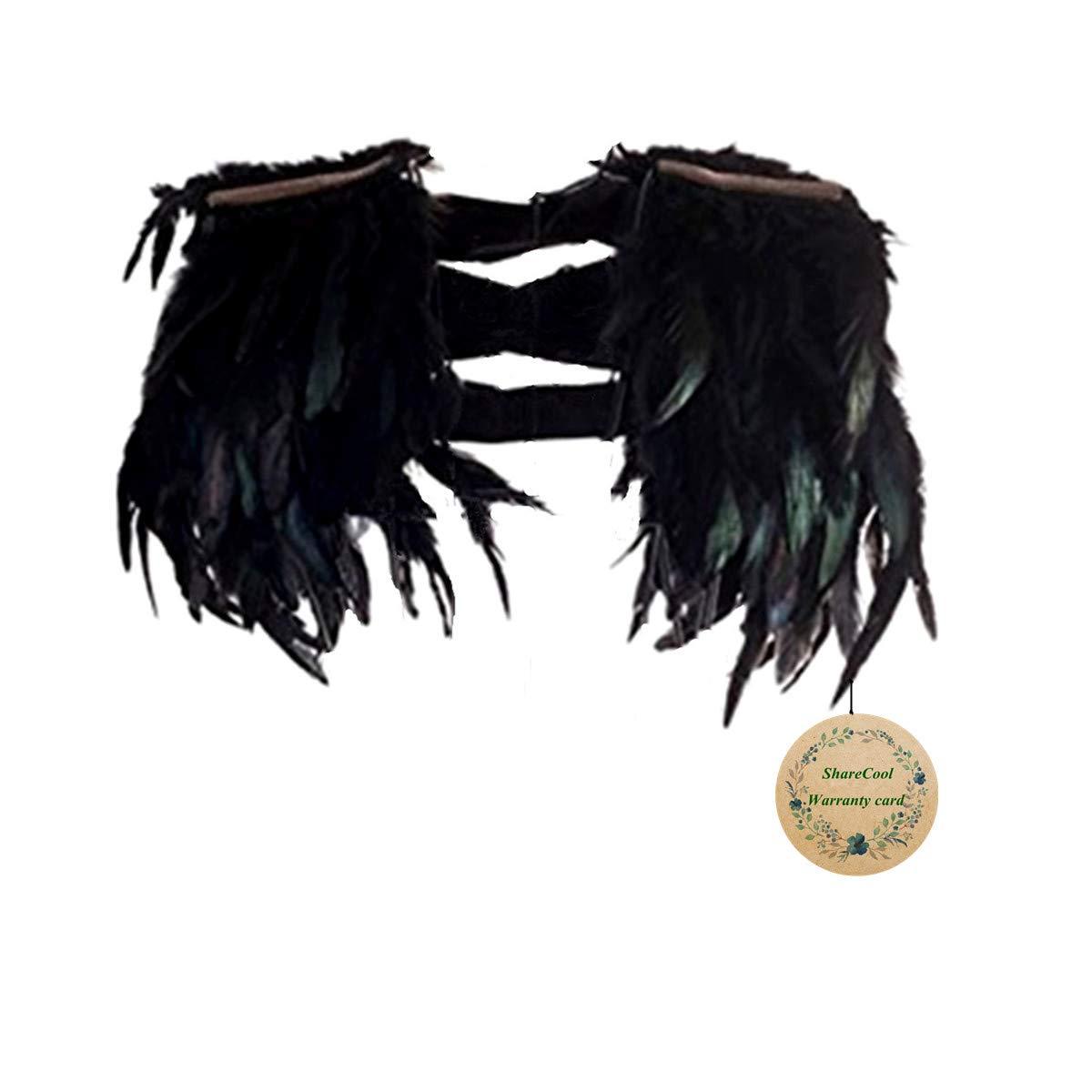 ShareCool Stola di piume Scialle nero Scapular Iridescent Epaulet per il vestito da sera con frange A-63