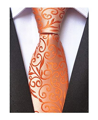Men's Orange Silver Silk Cravat Woven Ties Textile Business Neckties for Wedding