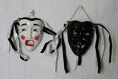 Porcelain Mask, Black Happy Face and White Crying Face,for Wall Decorations and Collection., 3 Inches (L) X 2.5 Inches (W) X 1 Inch (D)/ea ()