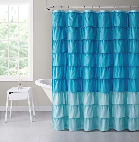 VCNY Home Heavy Duty Luxurious Gypsy Ruffled Ombre Fabric Shower Curtain - Assorted Colors (Aqua) (Blue Ruffle Curtains)