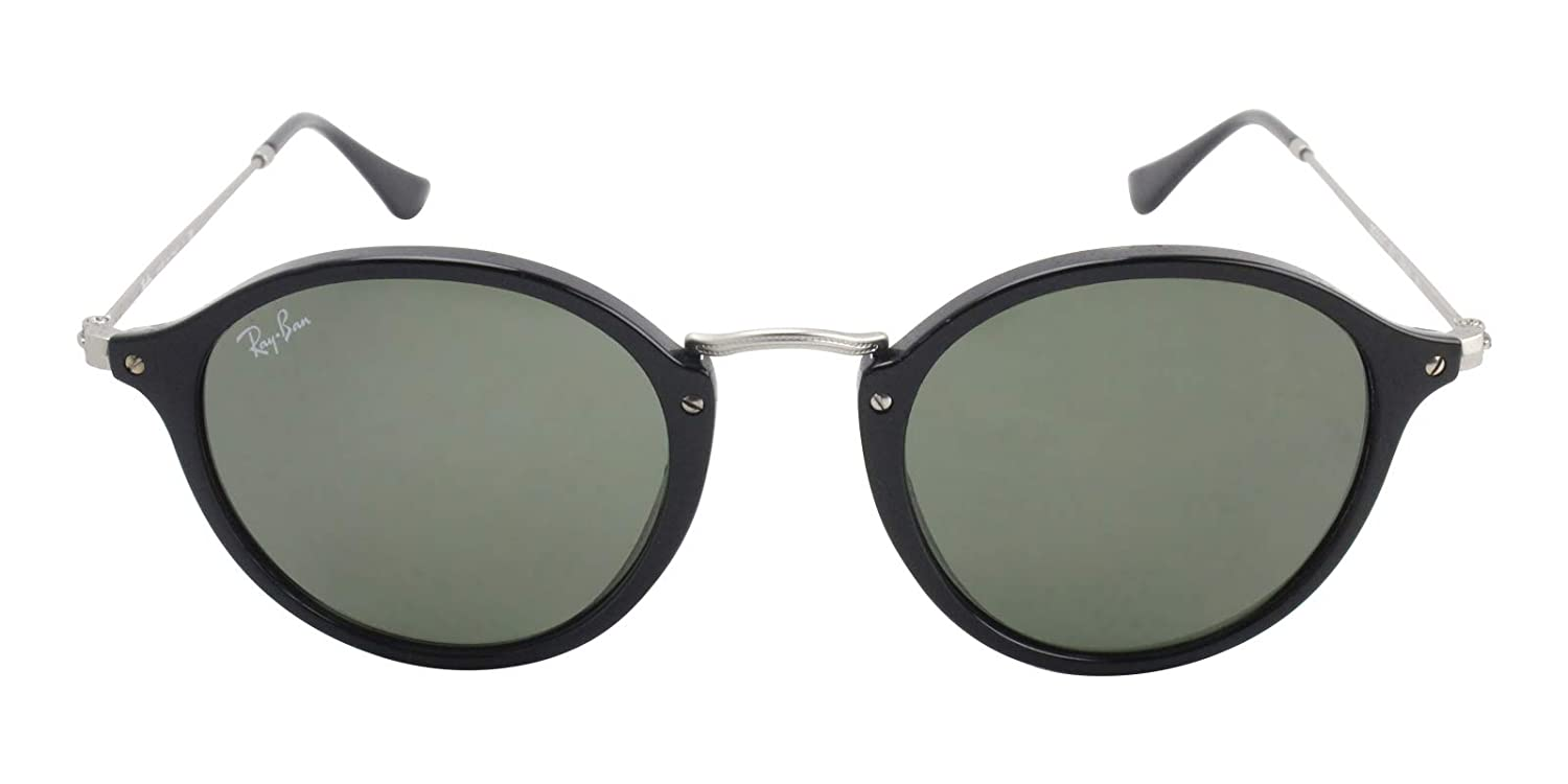 48768a3457 Amazon.com  Ray-Ban RB2447 901 Round Fleck Sunglasses Black Frame   Green  Lens 49mm  Clothing