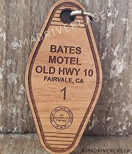 Bates Motel - Retro Wood Hotel Key Chain, Vintage Key Tag