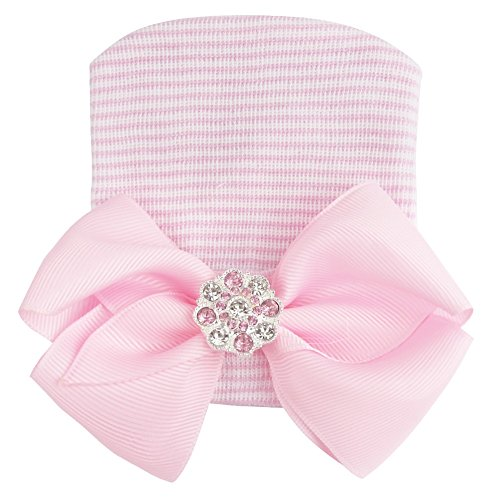 TiaoBug Newborn Sweet Baby Cotton Nursery Beanie Crystal Bow Hospital Hat Photo Props (One Size, Pink with Faux Diamond) -