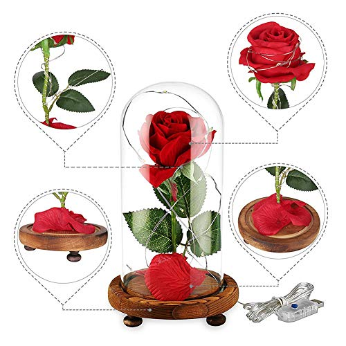 Beauty-and-The-Beast-Enchanted-Rose-Artificial-Red-Silk-Rose-Lamp-with-LED-String-Lights-Fallen-Petals-Wooden-Base-in-A-Glass-Dome-Best-Gift-for-Valentines-Day-Christmas-Wedding-Anniversary