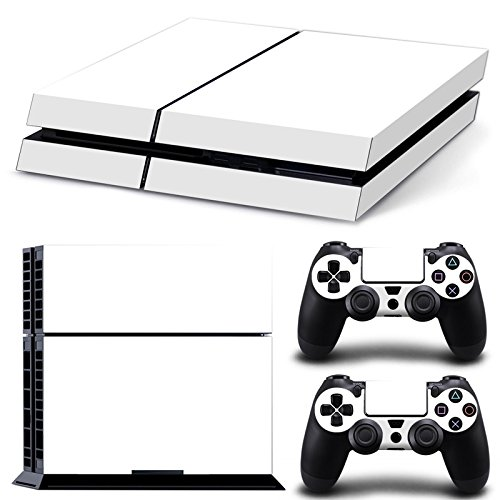Chickwin PS4 Vinyl Skin Full Body Cover Sticker Decal For Sony Playstation 4 Console & 2 Dualshock Controller Skins (All White)