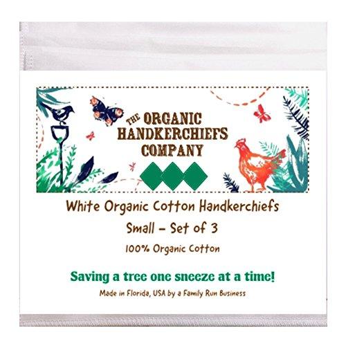"Organic Handkerchiefs Womens Cotton Set - 8"" small white hankies 3 pk Made in US by The Organic Handkerchiefs Company (Image #4)"