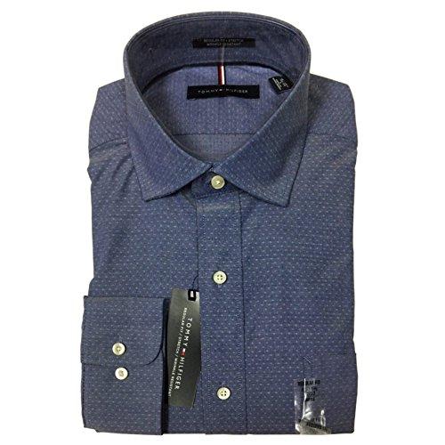 Tommy Hilfiger Button Shirt - Tommy Hilfiger Men's Regular Fit Long Sleeves Shirt (Dark Blue, 16-16.5 x 34/35)