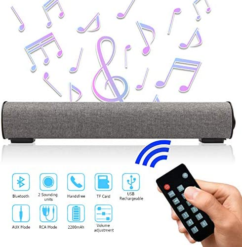 Sound Bar Bluetooth 4.2 Wireless Wired 16.9 Inch Soundbar Surround Sound Home Theater Built-in Subwoofers for PC Phones Tablets, 2 X 5W Bluetooth Stereo Speaker with Remote Control AUX TF Card