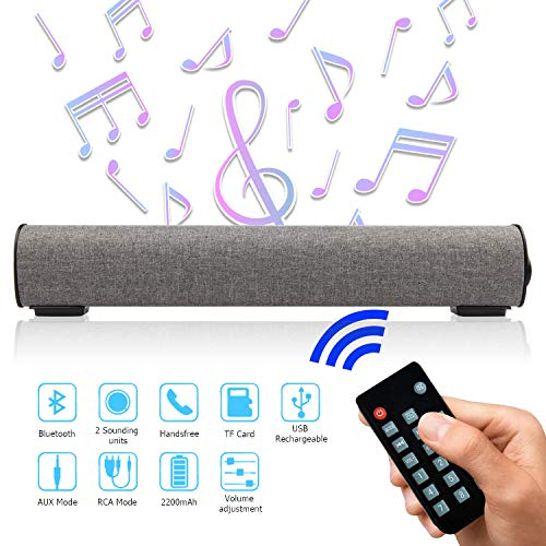Sound Bar Bluetooth 4.2 Wireless  Wired 16.9 Inch Soundbar Surround Sound Home Theater Built-in Subwoofers for TV/PC/Phones/Tablets, 2 X 5W Bluetooth Stereo Speaker with Remote Control AUX/TF Card