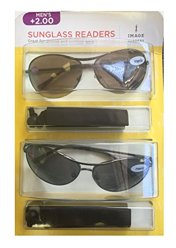 Image Readers Mens 2 Pack Trendy Frame Reading Sunglasses Glasses Block Out Ray UV and Gamma w/ +2.00 Magnification Viewing Pleasure Black Brown W/ Carry Pouch Driving Outdoor Safe Curved - Images Frames Glasses
