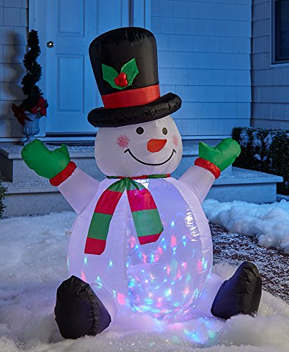 The Lakeside Collection 4-Ft. Light and Motion Snowman Inflatable -
