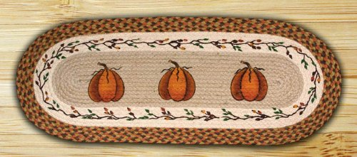 Earth Rugs 64 222 Oval Braided Printed Table Runner, 13 Inch By 48 Inch,  Harvest Pumpkin