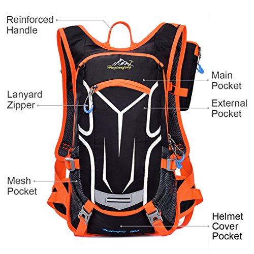 18L Fahrradrucksack mit Regenschutz Wasserdichte Leichter Wanderrucksack Outdoor Ultraleicht Sportrucksack für Radsport, Orange