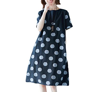 c325f47c99 Womens t Shirt Dresses Knee Length Summer Black White Casual A-line Cotton Linen  Dress Women at Amazon Women s Clothing store