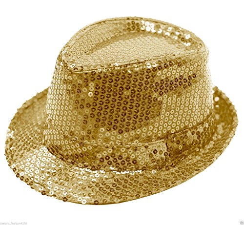 Buckletown Sequined Fedora Hat (Gold)