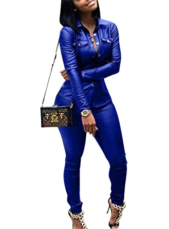 753424bdc91 Amazon.com  Gobought Womens Leather 2 Piece Outfit Long Sleeve Button  Jackets Bodycon Long Pants Set Jumpsuit  Clothing
